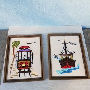 Vintage 70s Handmade Needlepoint Trolley & Boats